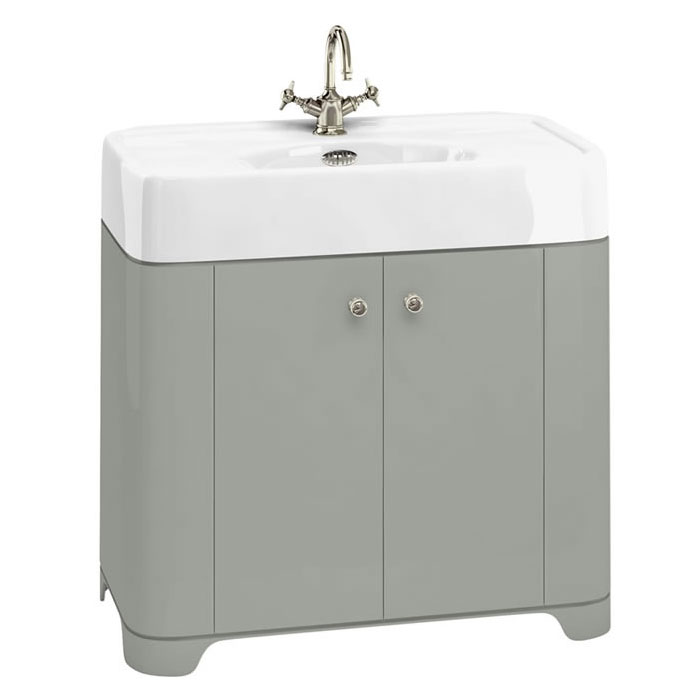 Arcade 900mm Floor Standing Vanity Unit and Basin - Dark Olive - Various Tap Hole Options Large Imag