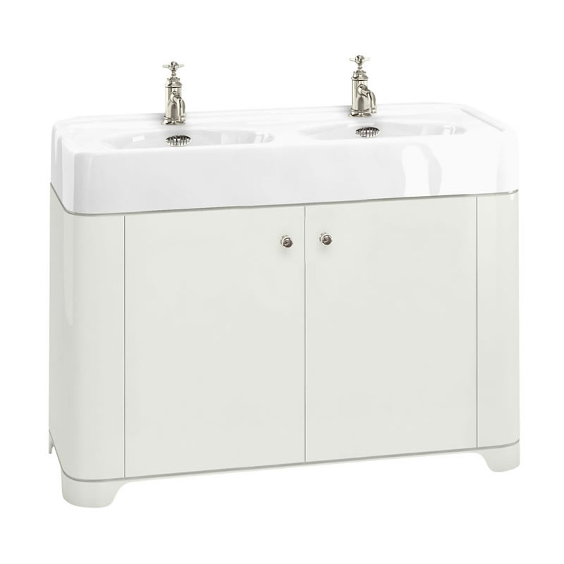 Arcade 1200mm Floor Standing Vanity Unit and Double Basin - Sand - Various Tap Hole Options