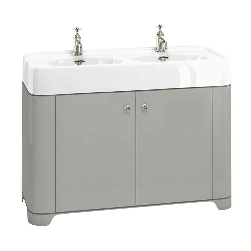 Arcade 1200mm Floor Standing Vanity Unit and Double Basin - Dark Olive - Various Tap Hole Options profile large image view 1