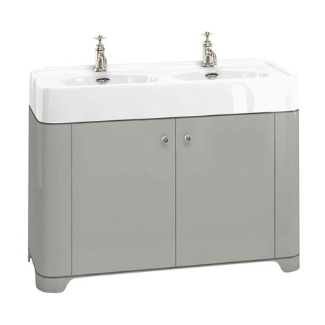 Arcade 1200mm Floor Standing Vanity Unit and Double Basin - Dark Olive - Various Tap Hole Options