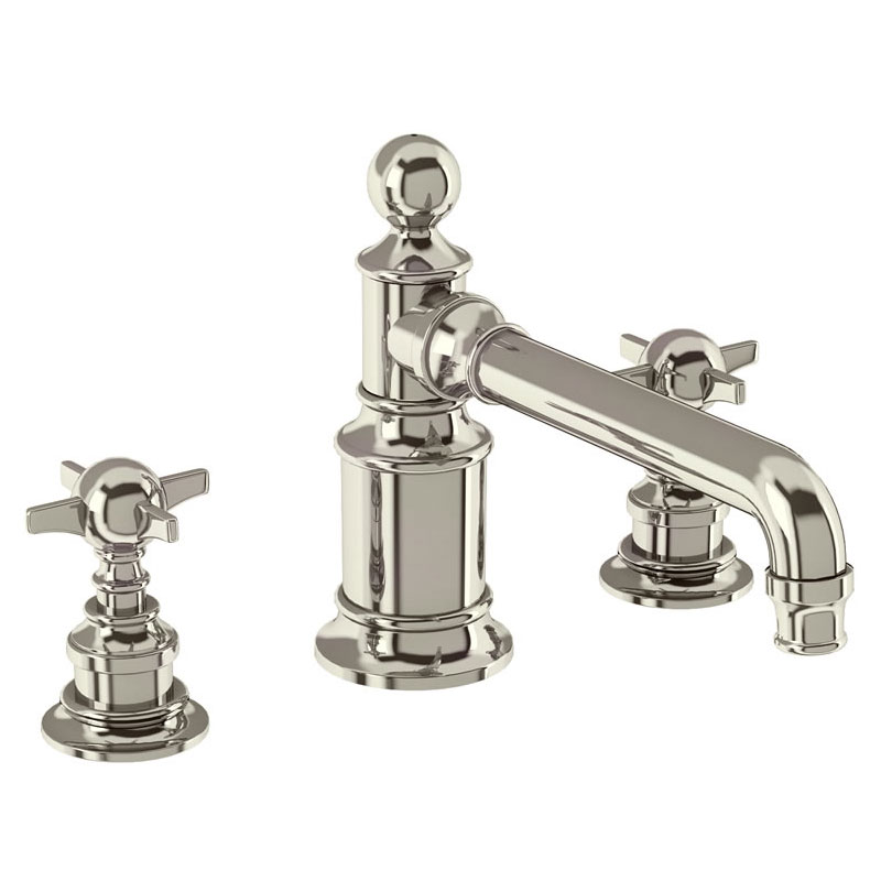 Arcade Three Hole Deck Mounted Basin Mixer - Nickel - Various Tap Head Options Large Image