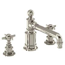 Arcade Three Hole Deck Mounted Basin Mixer - Nickel - Various Tap Head Options Medium Image