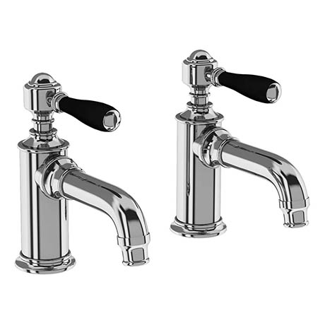 Arcade Basin Pillar Taps with Black Levers - Chrome