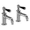 Arcade Basin Pillar Taps with Black Levers - Chrome profile small image view 1