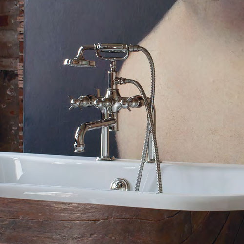 Arcade Deck Mounted Bath Shower Mixer - Nickel - Various Tap Head Options profile large image view 2