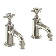 Arcade Cloakroom Basin Pillar Taps - Nickel - Various Tap Head Options Medium Image