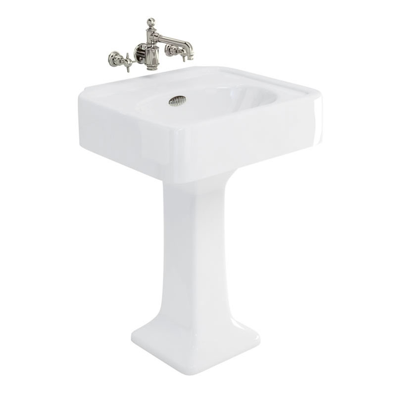 Arcade 600mm Basin and Pedestal - Various Tap Hole Options profile large image view 1