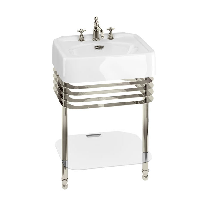 Arcade 600mm Basin and Stand with Glass Shelf - Various Tap Hole Options Large Image