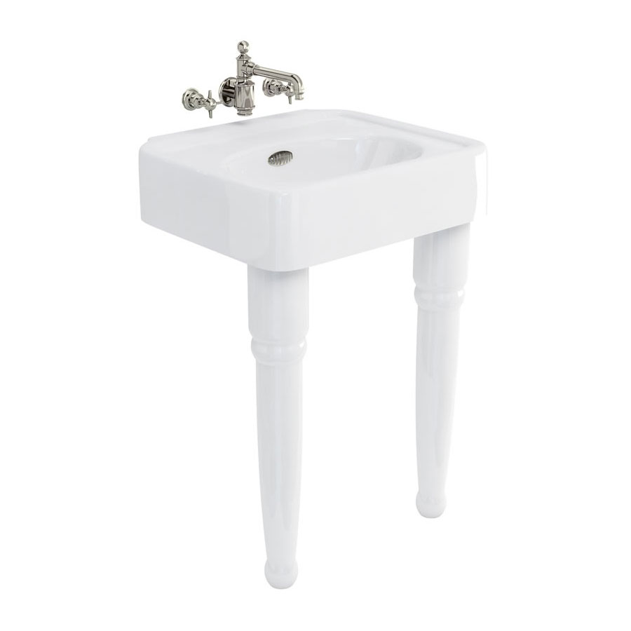 Arcade 600mm Basin and Ceramic Console Legs - Various Tap Hole Options Large Image