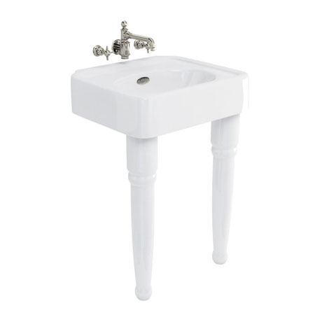 Arcade 600mm Basin and Ceramic Console Legs - Various Tap Hole Options