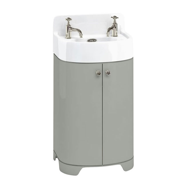 Arcade 500mm Floor Standing Vanity Unit and Basin - Dark Olive - 2 x Tap Hole Options Large Image