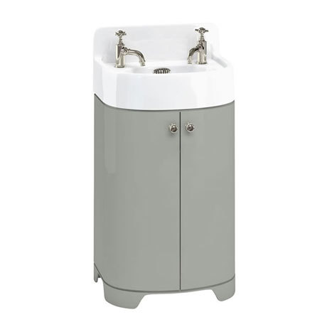 Arcade 500mm Floor Standing Vanity Unit and Basin - Dark Olive - 2 x Tap Hole Options