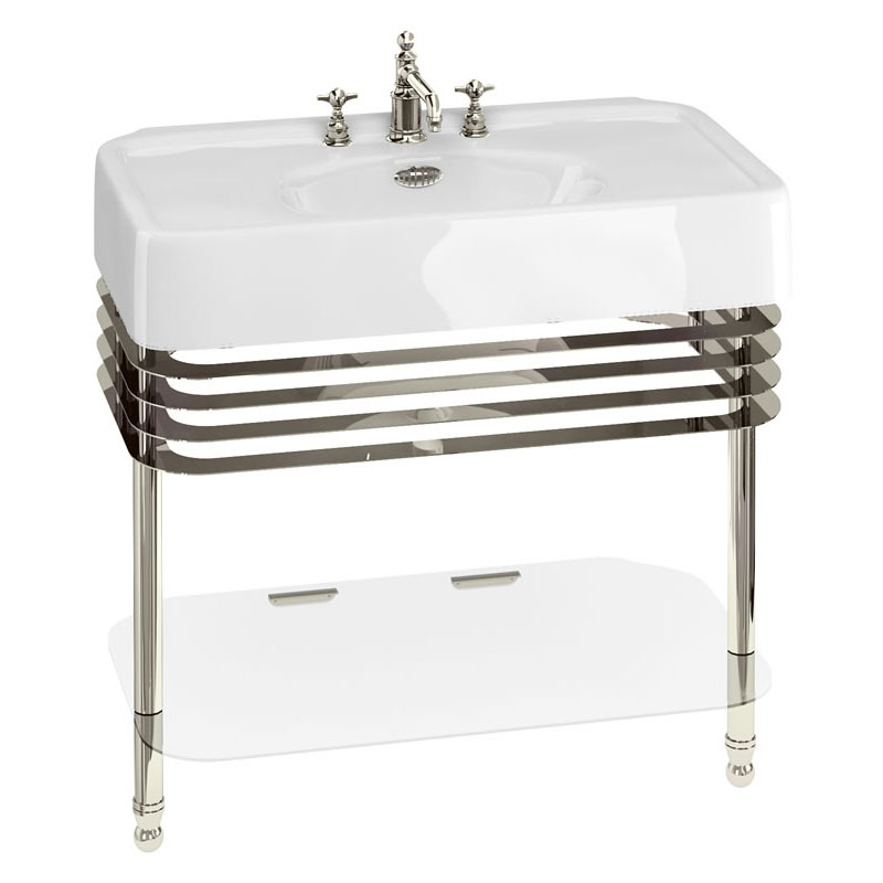 Arcade 900mm Basin and Stand with Glass Shelf - Various Tap Hole Options Large Image