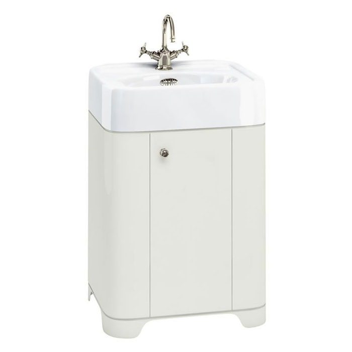 Arcade 600mm Floor Standing Vanity Unit and Basin - Sand - Various Tap Hole Options Large Image