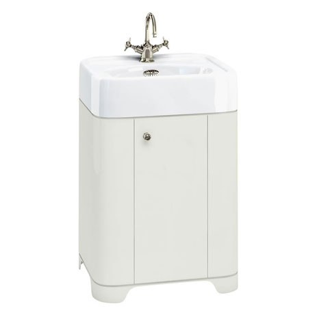 Arcade 600mm Floor Standing Vanity Unit and Basin - Sand - Various Tap Hole Options