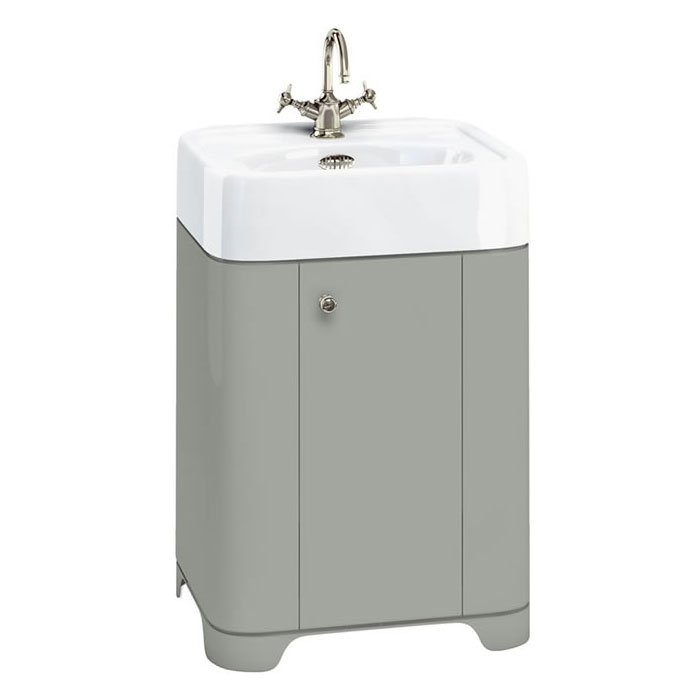 Arcade 600mm Floor Standing Vanity Unit and Basin - Dark Olive - Various Tap Hole Options profile large image view 1
