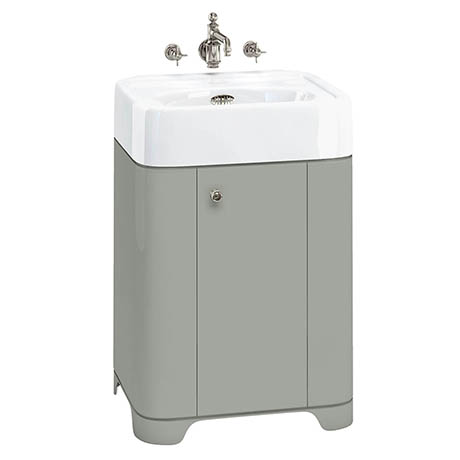 Arcade 600mm Floor Standing Vanity Unit and Basin - Dark Olive - Various Tap Hole Options