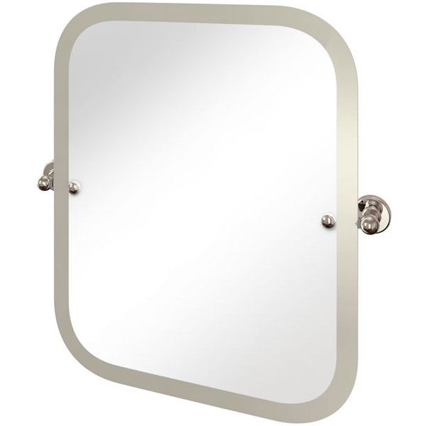 Arcade Rectangular Swivel Mirror with Nickel Plated Brass Wall Mounts Large Image