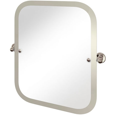 Arcade Rectangular Swivel Mirror with Nickel Plated Brass Wall Mounts