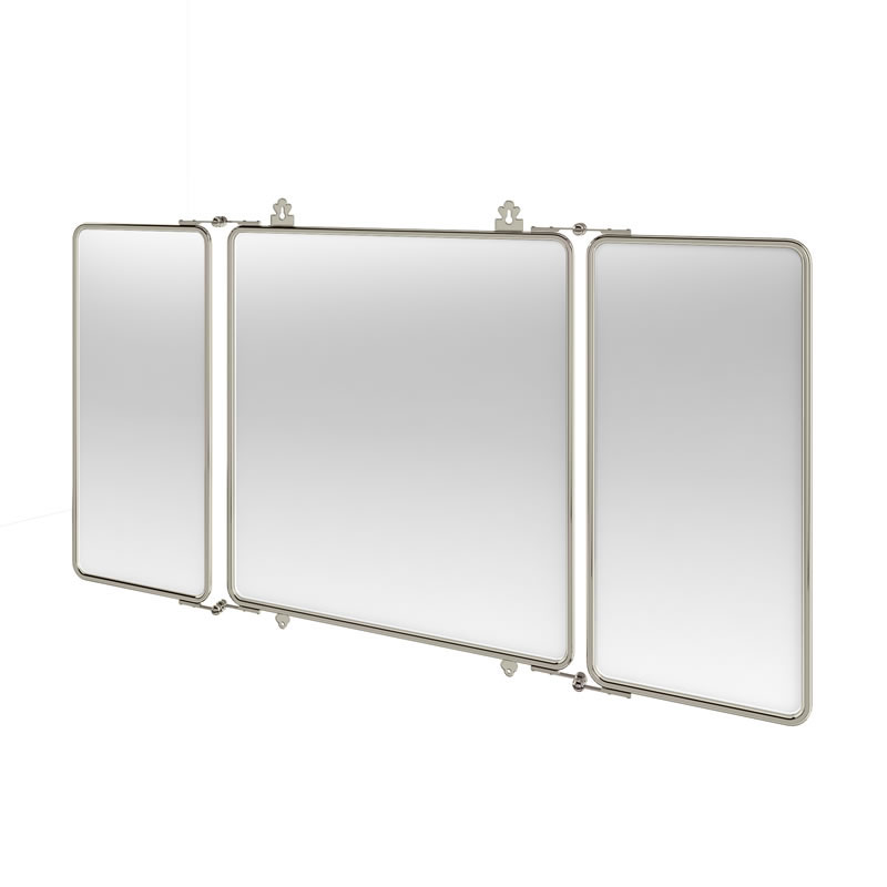 Arcade Three Fold Mirror with Nickel Plated Brass Frame Large Image