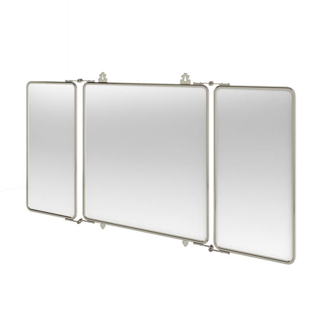 Arcade Three Fold Mirror with Nickel Plated Brass Frame