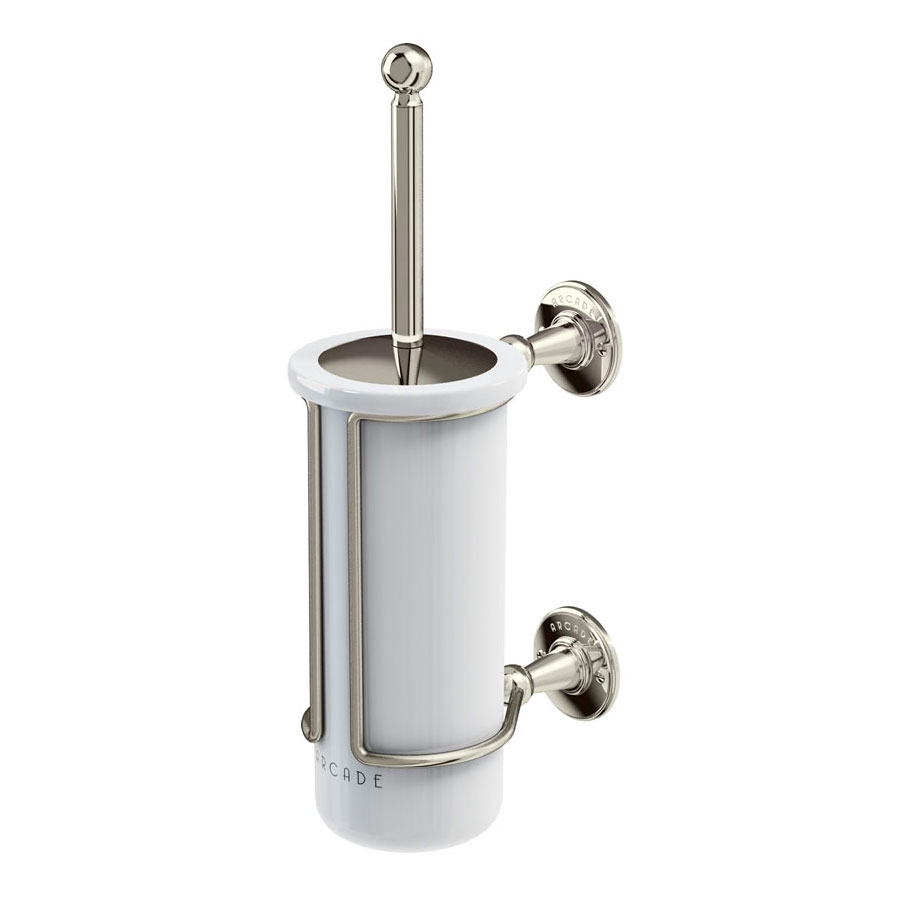 Arcade Wall Mounted Toilet Brush & Holder - Nickel Large Image