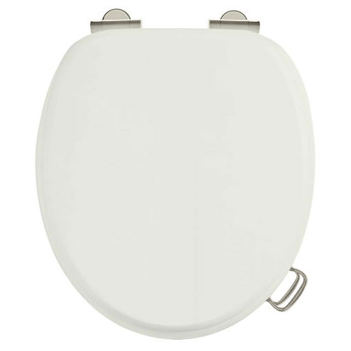 Burlington Soft Close Toilet Seat with Chrome Hinges and Handles - Sand Large Image