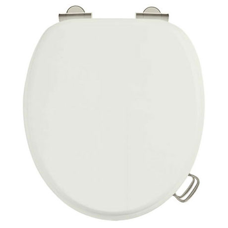 Burlington Soft Close Toilet Seat with Chrome Hinges and Handles - Sand
