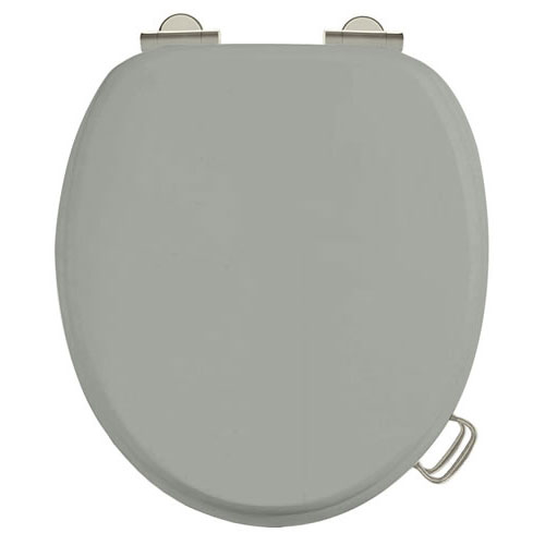 Burlington Soft Close Toilet Seat with Chrome Hinges and Handles - Dark Olive Large Image