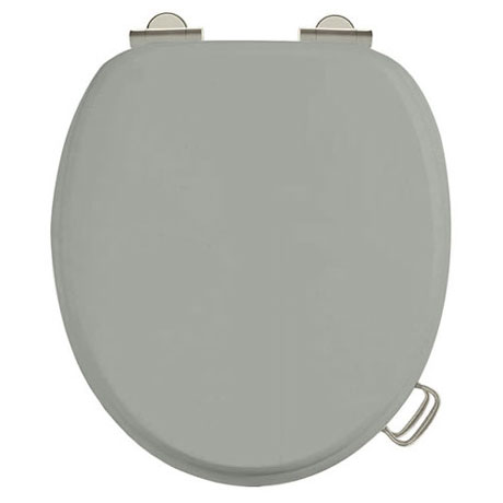 Burlington Soft Close Toilet Seat with Chrome Hinges and Handles - Dark Olive