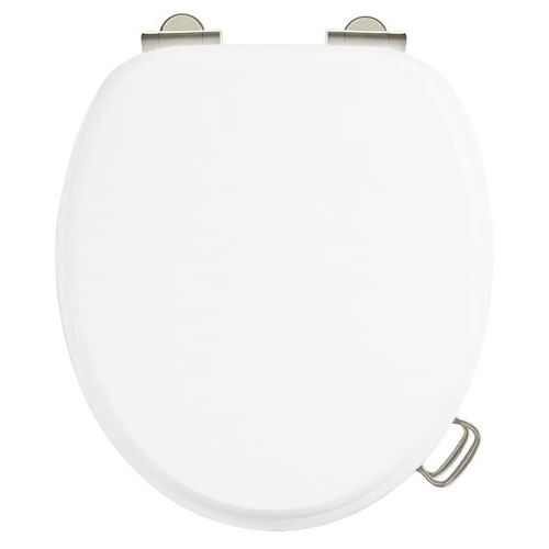 Burlington Soft Close Toilet Seat with Chrome Hinges and Handles - Matt White Large Image