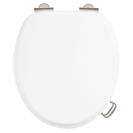 Burlington Soft Close Toilet Seat with Chrome Hinges and Handles - Matt White