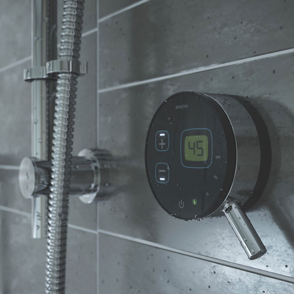 Bristan Artisan Evo Digital Thermostatic Mixer Shower with Adjustable Riser - Black profile large image view 4