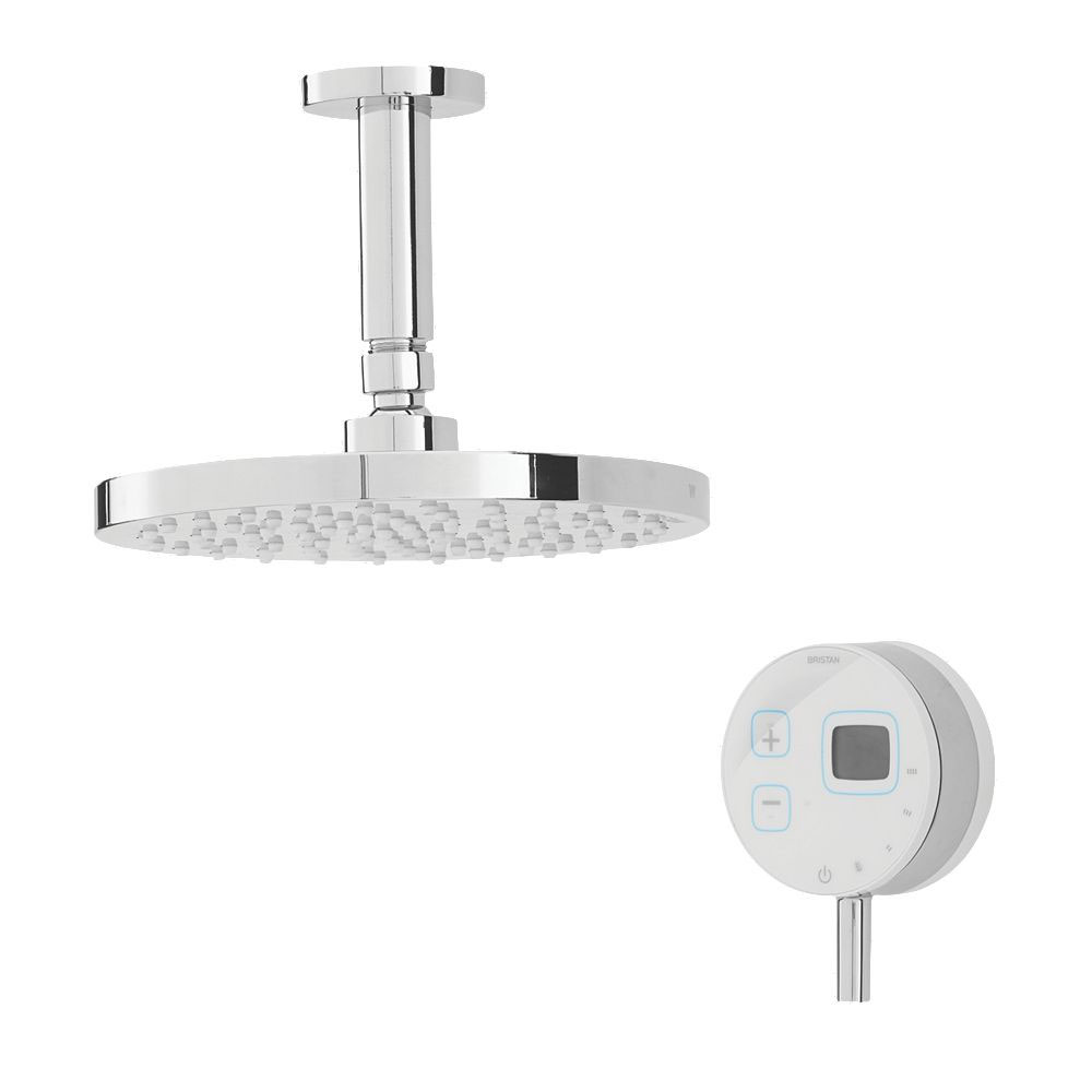Bristan Artisan Evo Digital Thermostatic Mixer Shower with Ceiling Fed Rose - White Large Image