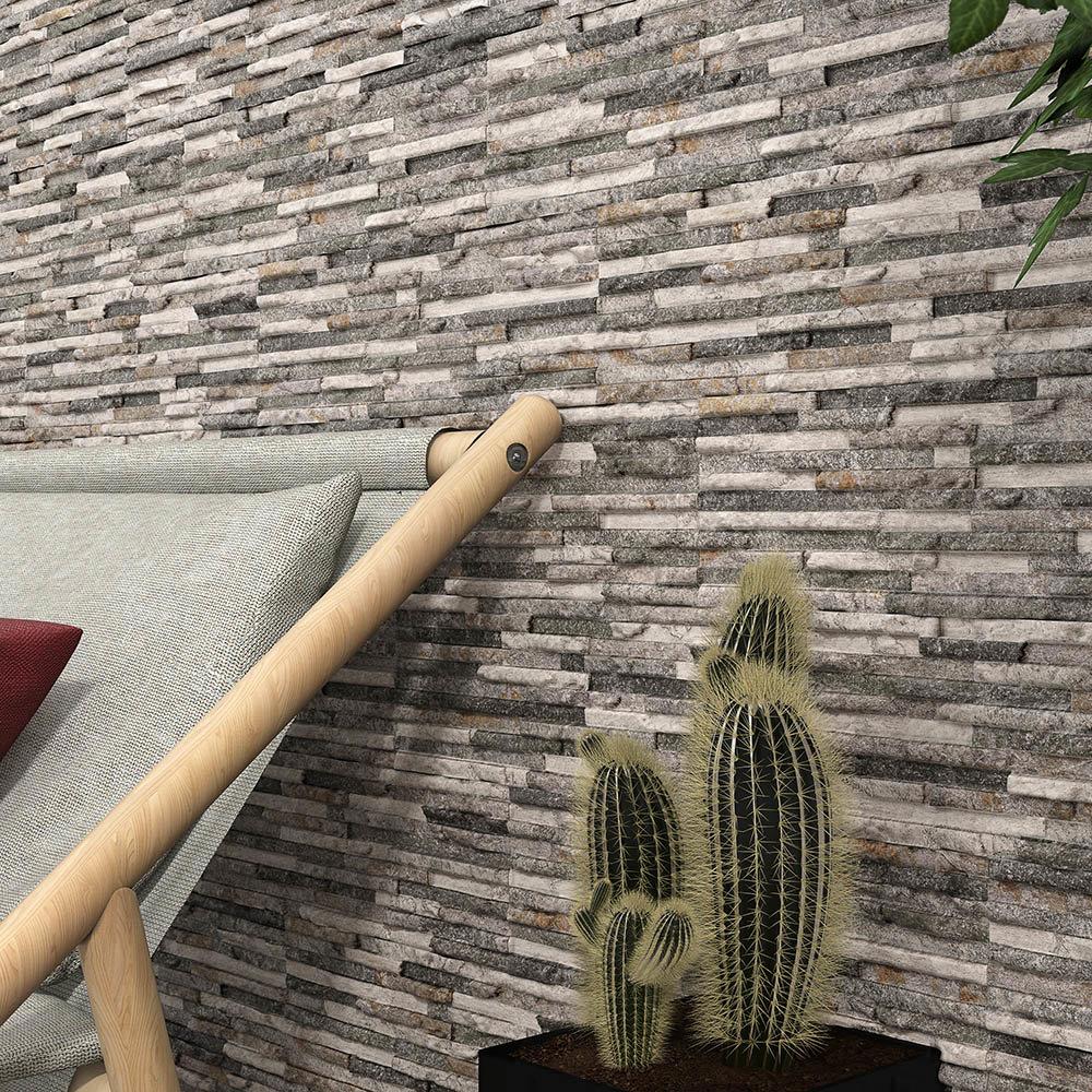 Arenzo Grey Stone Effect Split Face Tiles - 170 x 520mm