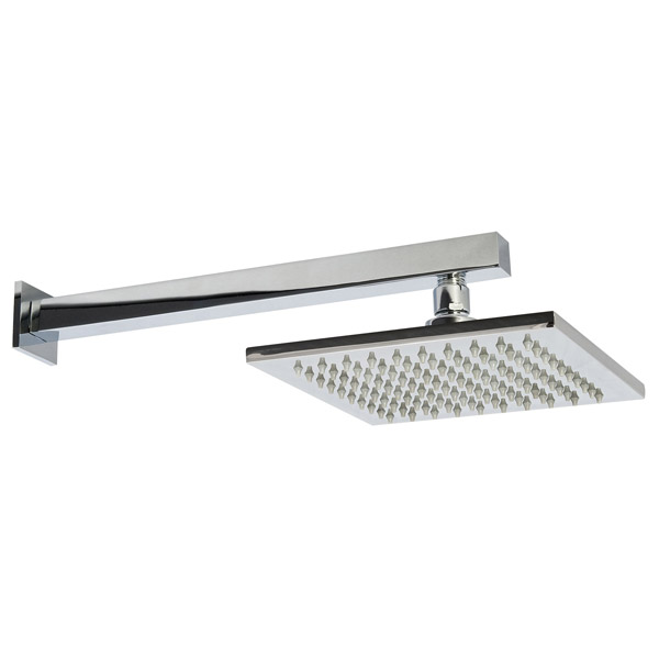 Premier - Square Wall Mounted Shower Arm & Stainless Steel Fixed Head 200mm profile large image view 1