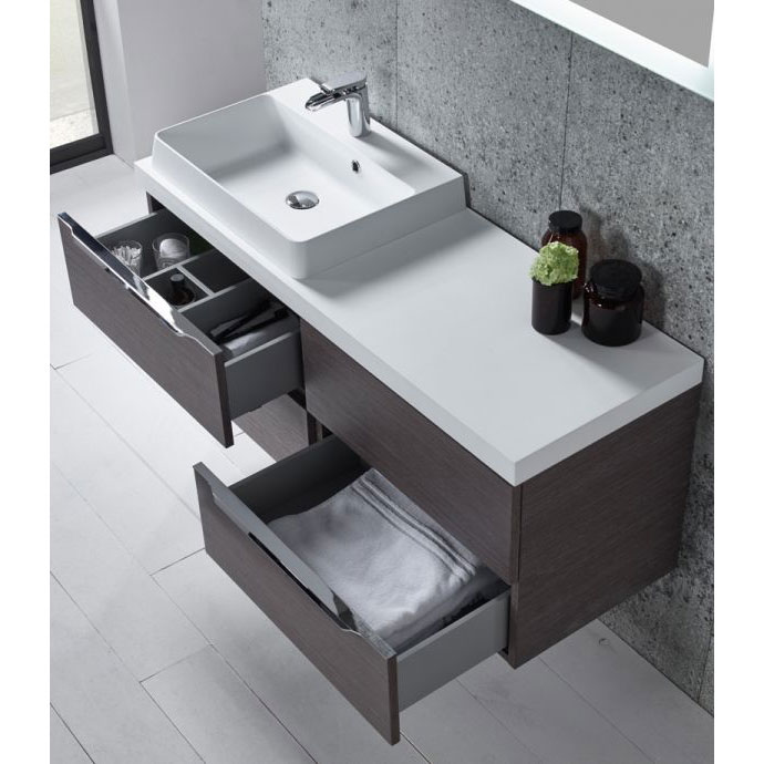 Tavistock Array 1200mm Twin Double Drawer Units & Basin - Dark Java Feature Large Image