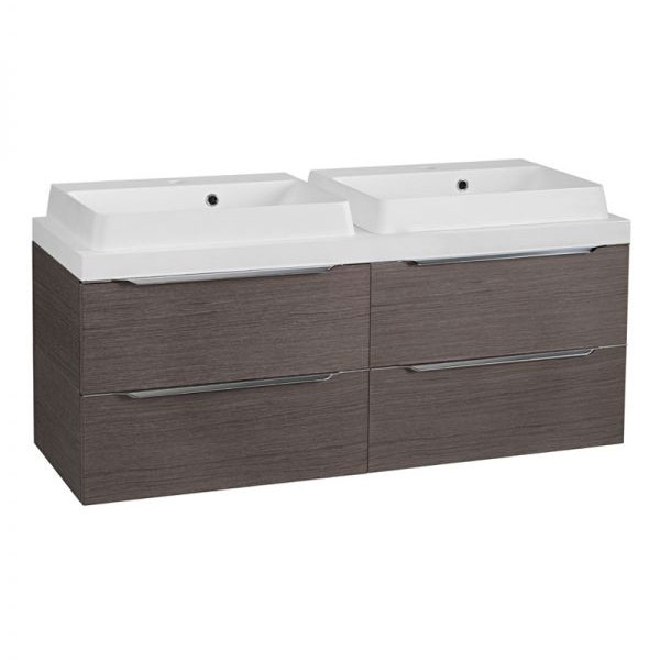Tavistock Array 1200mm Twin Double Drawer Units & Double Basin - Dark Java profile large image view 1