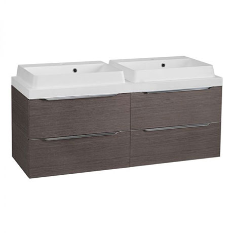 Tavistock Array 1200mm Twin Double Drawer Units & Double Basin - Dark Java