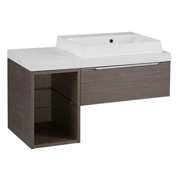 Tavistock Array Single Drawer Unit & Basin with 300mm Open Unit - Dark Java profile large image view 1