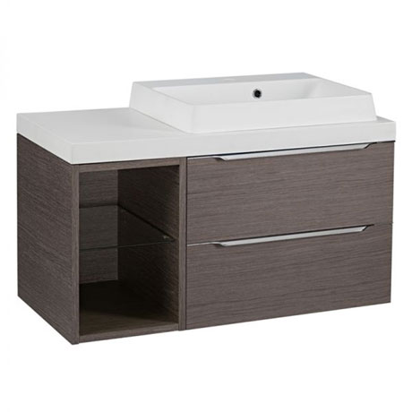 Tavistock Array Two Drawer Unit & Basin with 300mm Open Unit - Dark Java