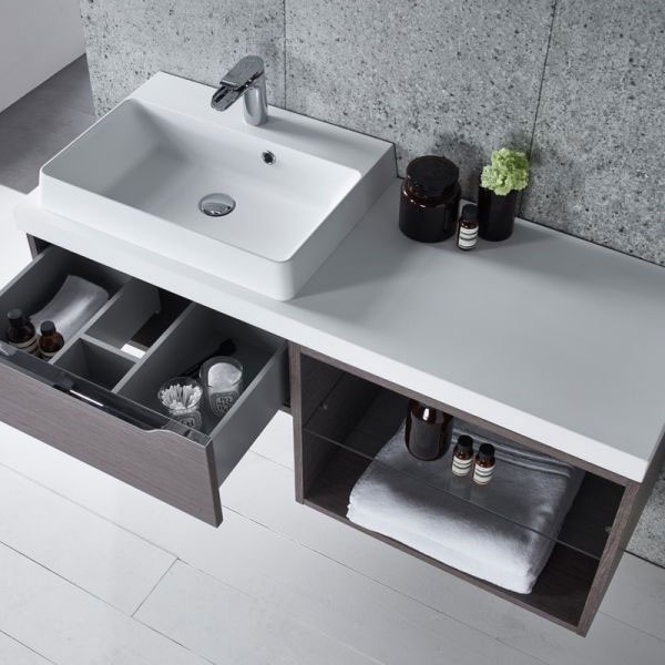 Tavistock Array Single Drawer Unit & Basin with 600mm Open Unit - Dark Java Profile Large Image
