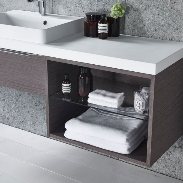 Tavistock Array Single Drawer Unit & Basin with 600mm Open Unit - Dark Java Feature Large Image