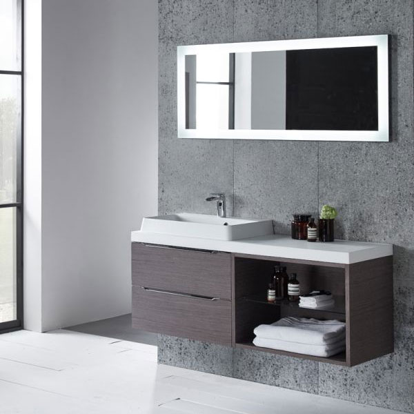 Tavistock Array Two Drawer Unit & Basin with 600mm Open Unit - Dark Java profile large image view 2