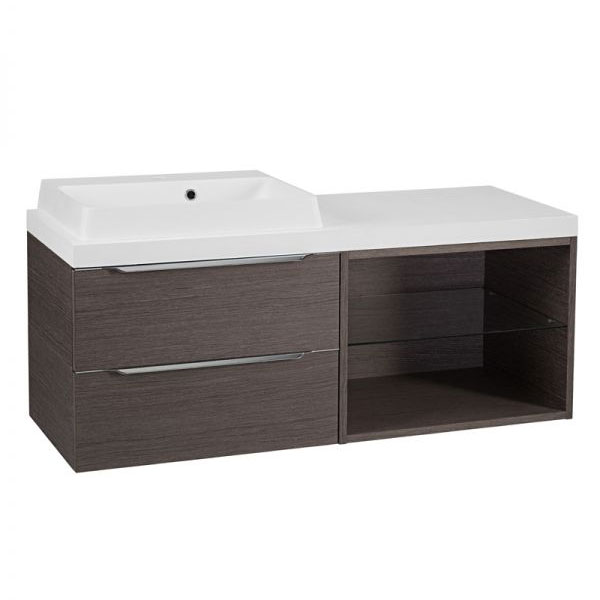Tavistock Array Two Drawer Unit & Basin with 600mm Open Unit - Dark Java Large Image