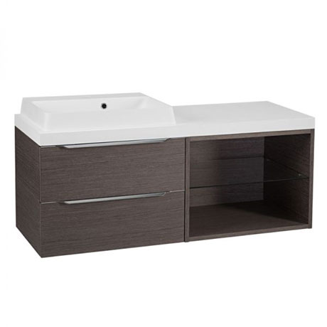 Tavistock Array Two Drawer Unit & Basin with 600mm Open Unit - Dark Java