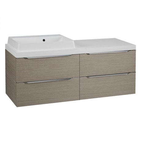Tavistock Array 1200mm Twin Double Drawer Units & Basin - Light Java
