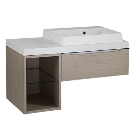Tavistock Array Single Drawer Unit & Basin with 300mm Open Unit - Light Java