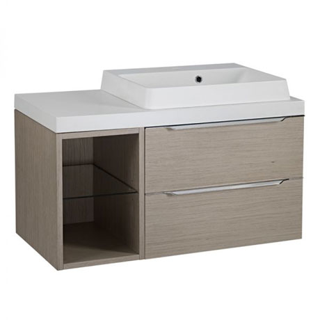 Tavistock Array Two Drawer Unit & Basin with 300mm Open Unit - Light Java