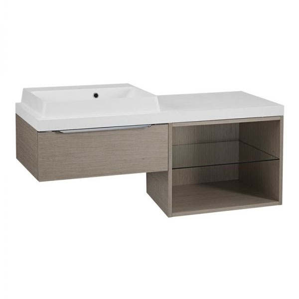 Tavistock Array Single Drawer Unit & Basin with 600mm Open Unit - Light Java profile large image view 1